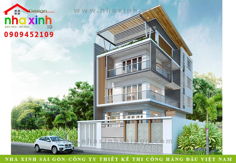Mẫu Thiết Kế Biệt Thự Đẹp 4 Tầng | Anh Xuân Q7 | BT-136