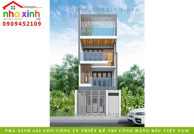 Thiết Kế Nhà Phố Đẹp 4 Tầng | Chị Trang | NP-106